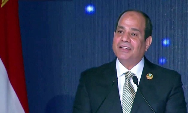 File Photo - President Abdel Fatah al-Sisi delivering the closing speech of the first edition of the World Youth Forum in Sharm El-Sheikh on November 9, 2017.