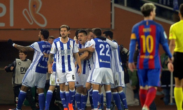 Football Soccer - Real Sociedad v Barcelona - Spanish Liga Santander - Anoeta, San Sebastian, Spain - 27/11/2016 Real Sociedad celebrate a goal. REUTERS/Vincent West