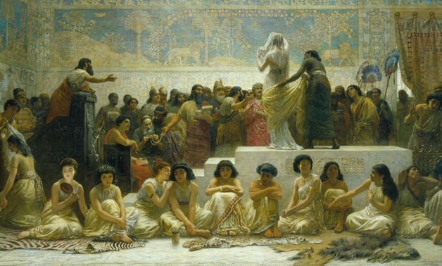 """""""The Babylonian Marriage Market"""" painting, by Edwin Long – Photo Courtesy of Wikipedia"""