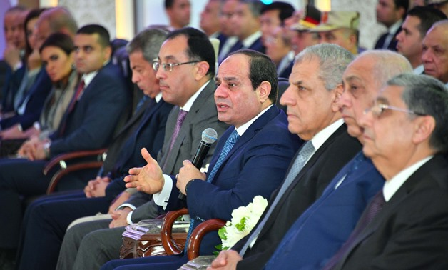 President Abdel Fatah al-Sisi gives a speech during the inauguration of national projects in some governorates via video conference on Monday, January 15, 2018 - Press photo
