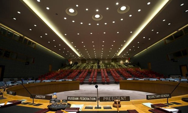 The Security Council chamber is seen from behind the Council President's chair at the United Nations headquarters in New York City September 18, 2015. REUTERS/Mike Segar/Files