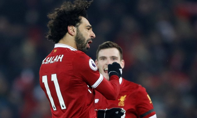Soccer Football - Premier League - Liverpool vs Manchester City - Anfield, Liverpool, Britain - January 14, 2018 Liverpool's Mohamed Salah celebrates scoring their fourth goal Action Images via Reuters/Carl Recine
