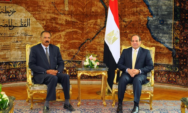 President Abdel Fatah al-Sisi meets with Eritrean President  Isaias Afwerki in Cairo - Press Photo