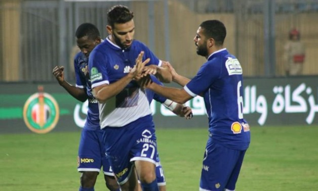 FILE - Al-Ahly's midfielder Mido Gaber celebrates his goal against El-Gaish