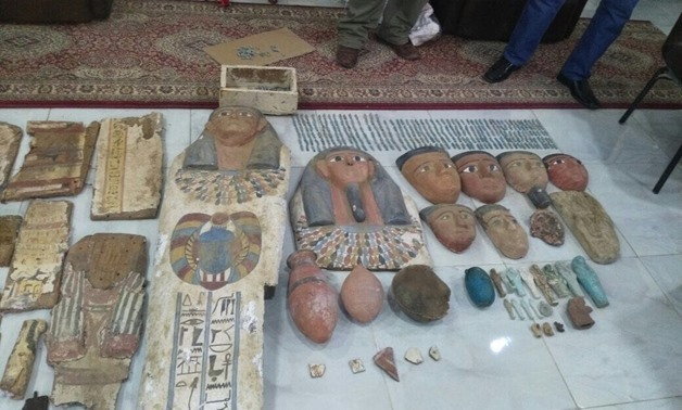 Seized artifacts by Tourism and Antiquities Police last year- File photo