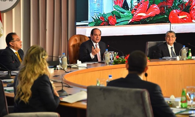 President Abdel Fatah al-Sisi (C) during the second session of the three-day conference of 'Tale of a Homeland' on January 18, 2018 - Press photo