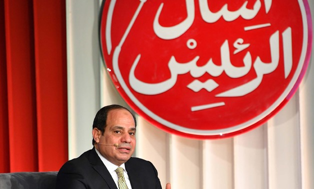 "President Sisi answered citizen's questions about his first four years in office during the session entitled ""Ask the President"" at Tale of Homeland Conference on 19 January 2018- press photo"