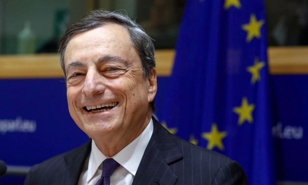 FILE PHOTO: European Central Bank (ECB) President Mario Draghi addresses the European Parliament's Economic and Monetary Affairs Committee in Brussels, Belgium November 20, 2017. REUTERS/Yves Herman/File Photo