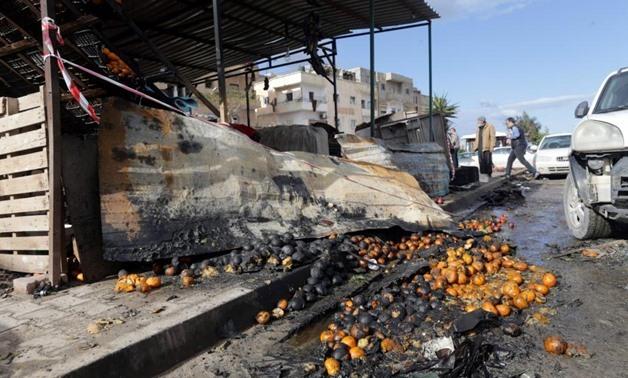 A damaged fruit shop is seen at the site of twin car bombs in Benghazi, Libya, January 24, 2018. REUTERS/Esam Omran Al-Fetori