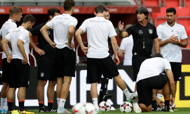 FILE PHOTO: Soccer Football - 2018 World Cup Qualifications - Europe - Germany Training - Prague, Czech Republic - August 31, 2017. Germany's national team coach Joachim Loew during training. REUTERS/David W Cerny