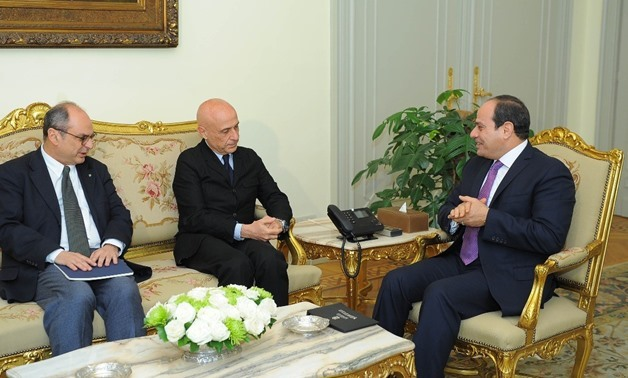 President Abdel Fatah al-Sisi received Italian Interior Minister Marco Minetti - Press photo