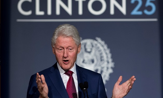 FILE- former US President Bill Clinton speaking during Clinton 25, a 25th Anniversary Commemoration Event of Clinton's presidential election, at Georgetown University in Washington, DC. - AFP