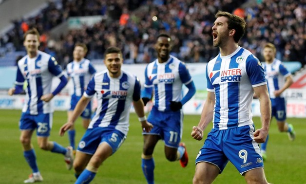 Soccer Football - FA Cup Fourth Round - Wigan Athletic vs West Ham United - DW Stadium, Wigan, Britain - January 27, 2018 Wigan Athletic's Will Grigg celebrates scoring their second goal Action Images via Reuters/Carl Recine