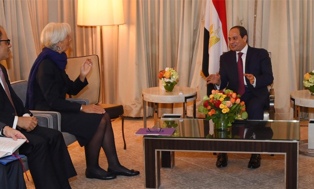Sisi meets with Lagarde in Washington, D.C, April 5, 2017 - Photo courtesy Egyptian Presidential Office