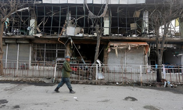 Afghan policemen inspect the site of a bomb attack in Kabul, Afghanistan, January 28, 2018. REUTERS/Omar Sobhani. ""