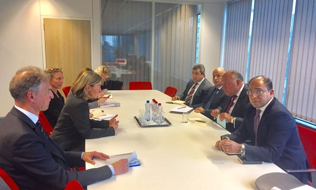 Egypt's FM Sameh Shoukry meets with EU foreign policy Chief Federica Mogherini on Tuesday Jan. 30 – Press photo