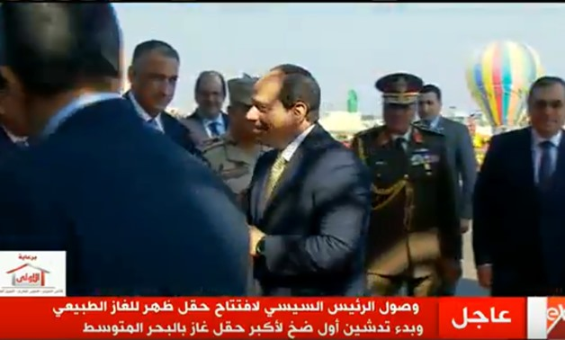Screenshot of TV during President Sisi's witnessing of early production of Zohr gas field.