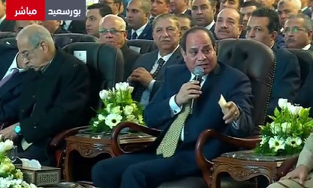 President Abdel Fatah al-Sisi during the inauguration ceremony of the Zohr natural gas field on Jan. 31, 2018 - video screenshot