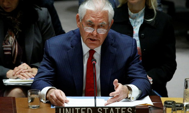 U.S. Secretary of State Rex Tillerson speaks during a United Nations Security Council meeting, to discuss a North Korean missile program, at the United Nations headquarters in New York. Photo: Reuters