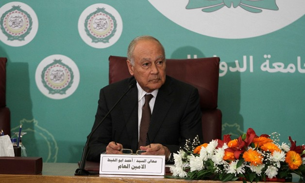 Arab League Secretary General Ahmed Aboul Gheit in his speech during an Arab League Council meeting at the level of foreign ministers, February 2, 2018 - Press Photo/Hossam Atef