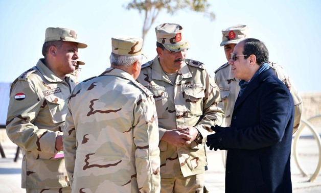 Sisi was briefed on the developments of the Galala Mountain projects in the Red Sea area between Ain Sokhna and Zafarana, February 2, 2018- Press photo