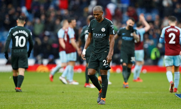 Soccer Football - Premier League - Burnley vs Manchester City - Turf Moor, Burnley, Britain - February 3, 2018 Manchester City's Fernandinho looks dejected at the end of the match Action Images via Reuters/Jason Cairnduff