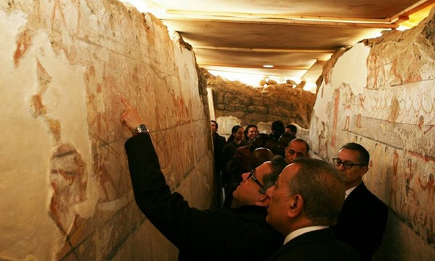 CAIRO – 4 February 2018: An Old Kingdom tomb was discovered in the Western Cemetery located in the Pyramids area in Giza to an ancient Egyptian woman named Hetpet, as announced on Saturday by the Egyptian Minister of Antiquities Khaled Anany.