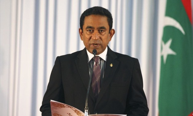 Abdulla Yameen takes his oath as the President of Maldives during a swearing-in ceremony at the parliament in Male November 17, 2013 -REUTERS/Waheed Mohamed