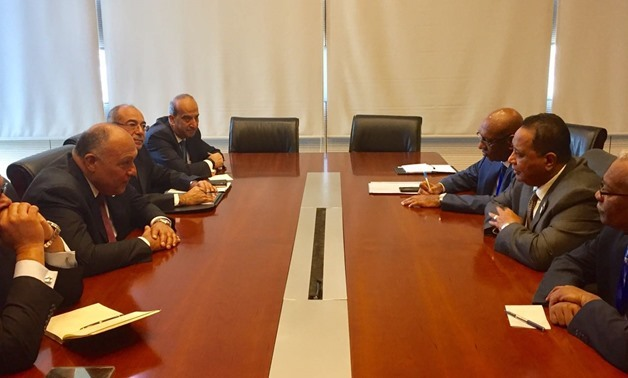 Minister of Foreign Affairs Sameh Shoukry (L) meeting with Sudanese counterpart Ibrahim Ghandour (R) on the sidelines of his participation in the Executive Council meetings of the 30th AU Summit in Addis Ababa on Jan. 26, 2018