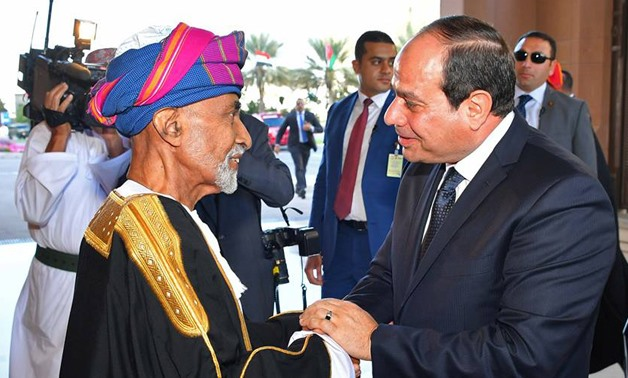 prsident Abdel Fatah al-Sisi meets with Sultan of Oman Qaboos bin Said al-Said at Muscat's Al-Alam royal palace, February 4, 2018 - Press Photo