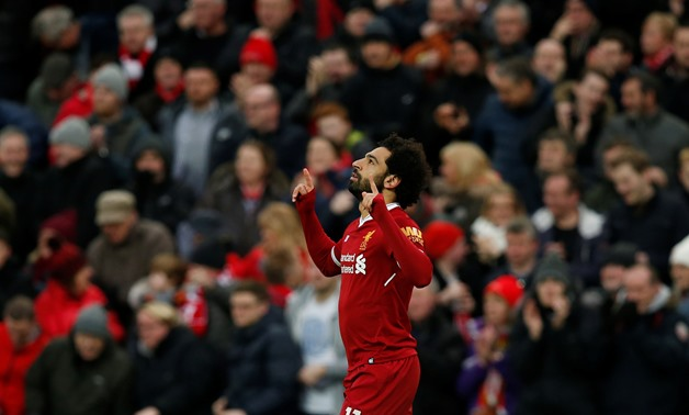 Soccer Football - Premier League - Liverpool vs Tottenham Hotspur - Anfield, Liverpool, Britain - February 4, 2018 Liverpool's Mohamed Salah celebrates scoring their first goal - REUTERS/Andrew Yates