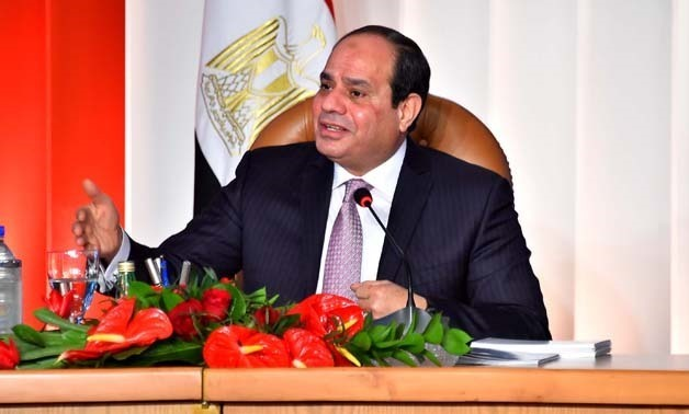 President Abdel Fatah al-Sisi gives a speech during the second day of Tale of a Homeland conference, January 18, 2018 - Press photo