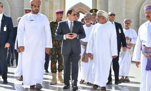 President Abdel Fatah al-Sisi during his visit to Oman on February 5, 2018- Press Photo