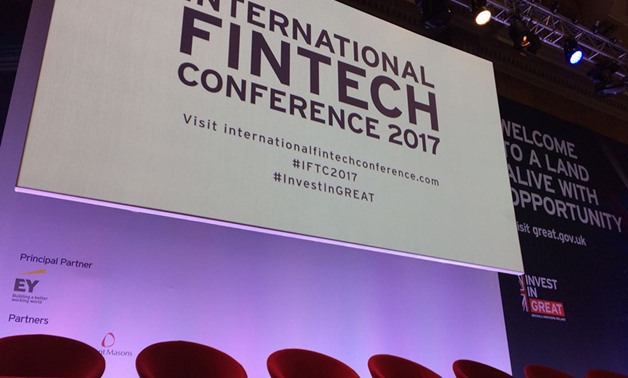 FILE - International FinTech Conference stage in 2017