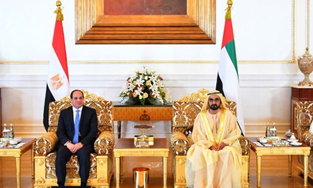 President Abdel Fatah al-Sisi  is received by Sheikh Mohammed bin Zayed al-Nahyan, Crown Prince of Abu Dhabi on Tuesday in a two-day visit to Abu Dhabi - press photo