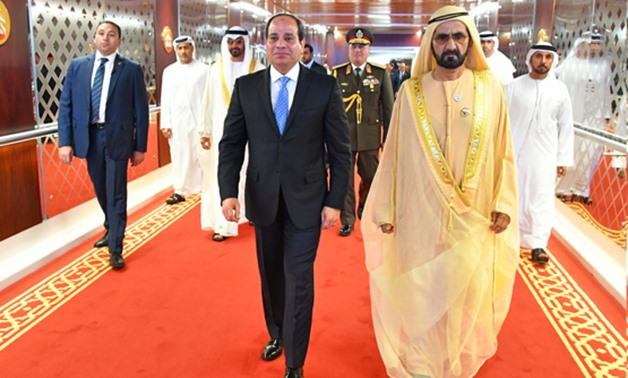 President Abdel Fatah al-Sisi was received by Sheikh Mohammed bin Zayed al-Nahyan, Crown Prince of Abu Dhabi on Tuesday in a two-day visit to Abu Dhabi - press photo