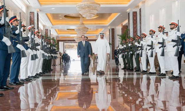 Mohamed bin Zayed Al Nahyan in farewell of President Abdel Fatah al-Sisi after a 2-day visit to UAE - Press photo/Official Twitter account of HH Mohamed bin Zayed