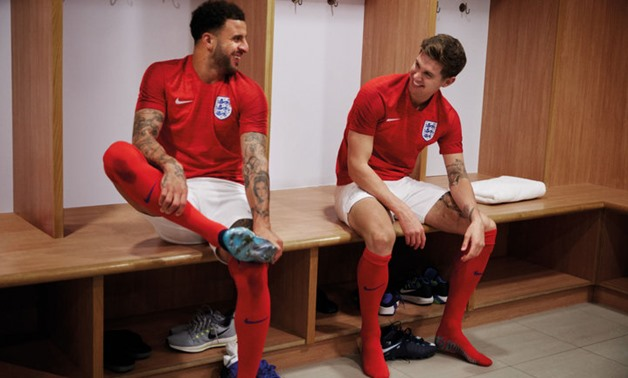 Kyle Walker and John Stones, seen here in the new England away kit, will hope to be part of England's defence during the 2018 World Cup – Photo courtesy of Skysports