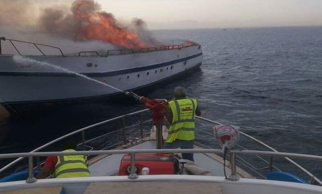 The naval rescue forces put out the fires on a touristic yacht in Hurghada - press photo