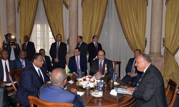 Egyptian Foreign Minister Sameh Shoukry (R), Sudanese Foreign Minister Ibrahim Ghandour meeting on Feb. 8, 2018 - Press photo