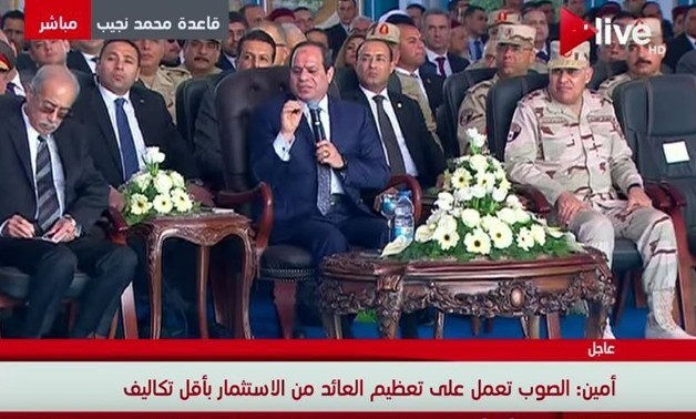 President Abdel Fatah al-Sisi inaugurates the first stage of the 100,000 acres of greenhouses project in Matrouh on Feb. 8, 2018