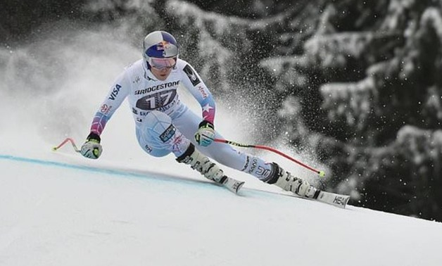 Lindsey Vonn of the US competes during a training session ahead of the FIS Alpine Skiing World Cup in Garmisch-Partenkirchen, southern Germany, on February 3, 2018