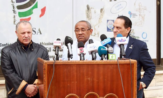CAF President Ahmed Ahmed speaks to press after visiting UCSA—Egypt Today / Ahmed Maarouf
