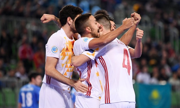 Spain's players celebrate defeating Kazakhstan at the semi-final—Photo courtesy of Euro Futsal Twitter account