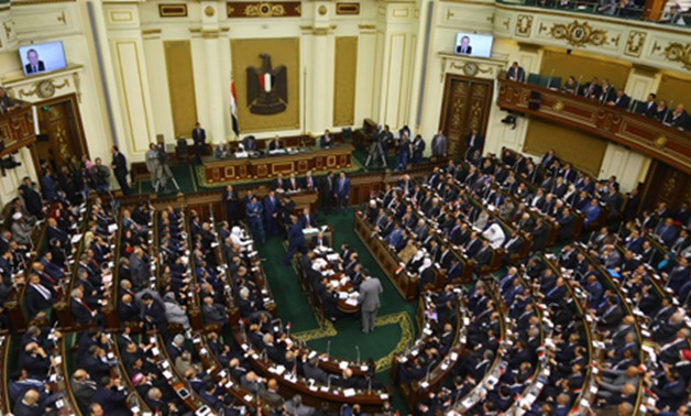A general view taken on January 10, 2016 shows members of Egypt's new parliament meeting during a session in the capital Cairo (AFP)