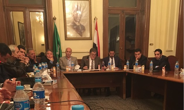 FILE - The chairmen of political parties held an emergency meeting on Sunday in the headquarter of Wafd Party to discuss plans to mass people to participate in the upcoming presidential election, February 11, 2018