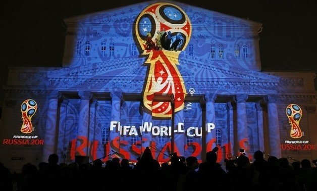 logotype of the 2018 FIFA World Cup during its unveiling ceremony at the Bolshoi Theater building in Moscow, October 28, 2014. REUTERS/Maxim Shemetov
