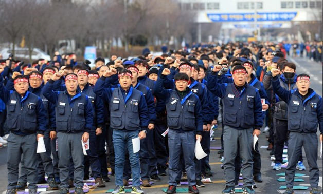 Members of the GM Korea union, a subcommittee for Korea Metal Workers' Union, hold a meeting to demand GM Korea withdraw its plan to shut down Gunsan manufacturing plant in Gunsan, South Korea February 14, 2018. Yonhap via REUTERS