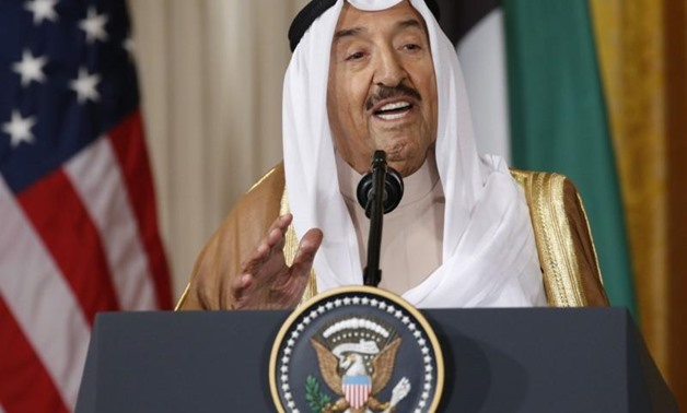 FILE PHOTO: Kuwait's Emir Sheikh Sabah Al-Ahmad Al-Jaber Al-Sabah addresses a joint news conference with U.S. President Donald Trump in the East Room of the White House in Washington, U.S., September 7, 2017. REUTERS/Kevin Lamarque