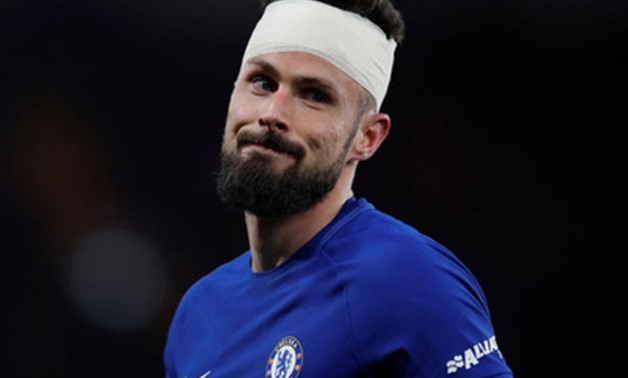 Soccer Football - Premier League - Chelsea vs West Bromwich Albion - Stamford Bridge, London, Britain - February 12, 2018 Chelsea's Olivier Giroud with a bandage around his head after sustaining an injury Action Images via Reuters/Andrew Couldridge